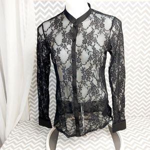 Black lace button down blouse size medium